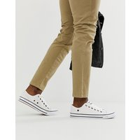 Dunlop lace up plimsolls in white - White