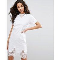 ASOSASOS T-Shirt Dress with Lace Inserts - White
