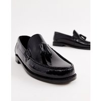 Base London Chime Tassel Loafers In High Shine Black - Black