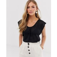 Mango frill sleeve top in black - Black