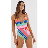 Accessorize Stripe Swimsuit In Bright Multi