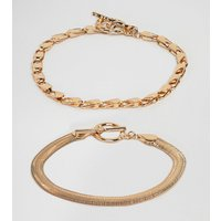 Asos Design Curve Pack Of 2 Bracelets With Heavyweight Chain And Flat Rope Chain Gold - Gold