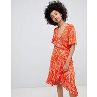 Soaked In Luxury Pleated Print Wrap Dress - Pumpkin
