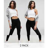 Pack de 2 leggings de talle alto en negro de ASOS DESIGN