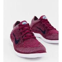 Nike Running Free Run Flyknit Trainers In berry - White