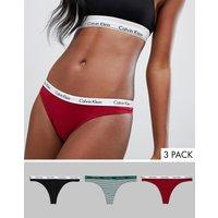 Calvin Klein Carousel 3 Pack Thong - Red/black/stripe