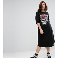 Pink ClovePink Clove Short Sleeve Midi Dress with Placement Print - Grey marl/multi