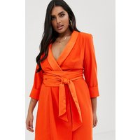 ASOS DESIGN Curve mini tux dress with self tie belt - Blood orange