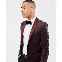 Jacamo Tall printed velvet blazer in red - Red