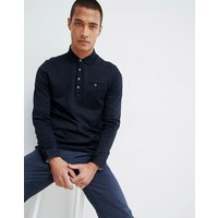 Ted Baker long sleeve polo shirt in navy texture - Navy