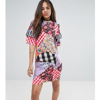 Jaded London TallJaded London Tall Oversized Tshirt Dress With Ruffle Sleeve Detail In Mix Print - Multi