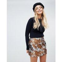 Brave Soul Floral Skirt In Brocade - Multi