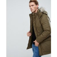 French Connection Parka With Faux Fur Hood - Green