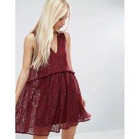 ASOSASOS Lace Smock Dress - Oxblood