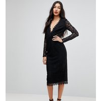 ASOS TALL Long Sleeve Lace Midi Pencil Dress - Black