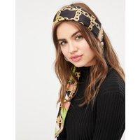 Fular/pañuelo para el pelo con diseño grande cuadrado en poliéster satinado con estampado de cadena brillante de ASOS DESIGN