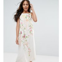 ASOS TallASOS TALL Embroidered Cami Slip Midi Dress - Stone