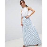 Falda larga de algodón de rayas con bolsillos de ASOS DESIGN