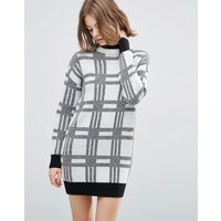ASOSASOS Knitted Dress in Check with High Neck - Multi