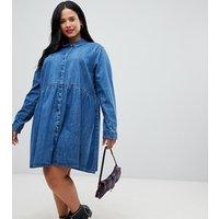 ASOS CURVE Curve - Gesmoktes Hemdkleid aus Denim in verwaschenem Mittelblau - Blau