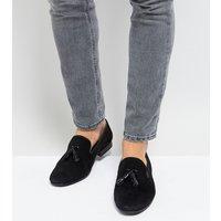 Silver Street Wide Fit Patent Tassel Loafers In Black Suede - Black