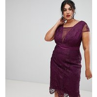 Chi Chi London Plus high neck lace pencil dress in deep purple