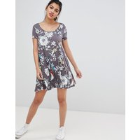 Brave Soul Swing Dress With Keyhole Back In Floral Bird Print - Grey