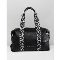 Claudia Canova Soft Grain Shoulder Bag With Zebra Print Webbing Detail - Black