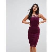 Ax Paris Crochet Lace Midi Dress With Scuba Back - Plum