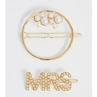 Accessorize Exclusive Pearl Multipack Clip Set With Mrs Clip