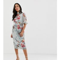 Hope & Ivy Maternity ruffle sleeve pencil dress in blue floral - Multi