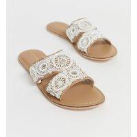 Accessorize Cream Beaded Embellished Flat Summer Slip On Sandals