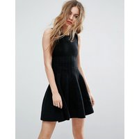 John  JennJohn & Jenn Morgan Overstitched Knitted Fit and Flare Dress - 001 caviar