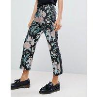 Pantalones de vestir capri rectos de jacquard floral de ASOS EDITION