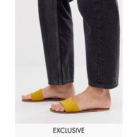 Accessorize Leather Mustard Slip On Sandals