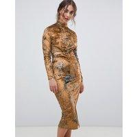 Hope & Ivy long sleeve velvet midi dress with knot front detail in bird print - Ochre print