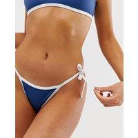 Free Society cheeky tie side thong bikini bottom in blue - Blue