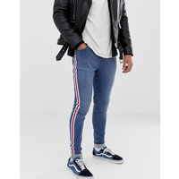 Brooklyn Supply Co muscle fit jeans in blue with side stripe - Indigo