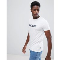 French Connection FCUK Print T-Shirt - White/marine