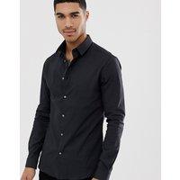 River Island muscle fit poplin shirt in black - Black