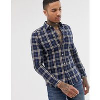 ASOS DESIGN stretch skinny fit check shirt in navy and brown - Navy