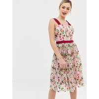 Chi Chi London square neck embroidered midi prom dress in multi