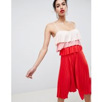 ASOS DESIGN colourblock tiered midi pleated dress