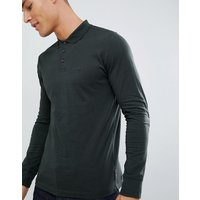 French Connection Long Sleeve Jersey Logo Polo Shirt - Dark green