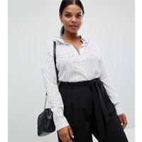 Brave Soul Plus aleta shirt in mini heart print - White