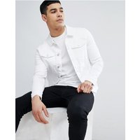 River Island Muscle Fit Denim Jacket In White Wash - White