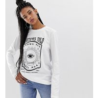Reclaimed Vintage inspired long sleeve t-shirt with fortune tarot print - White
