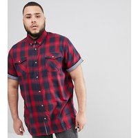 Duke King Size Short Sleeve Shirt In Red Check With Pockets - Red/navy
