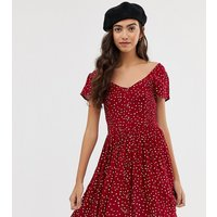 Brave Soul Tall smock dress with mini buttons in heart print - Burgundy / white