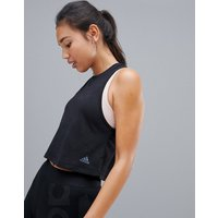 Adidas Training Aeroknit Crop Tank In Black - Black